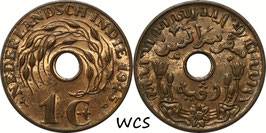 Netherlands East Indies 1 Cent 1945 P (high P) KM#317 XF