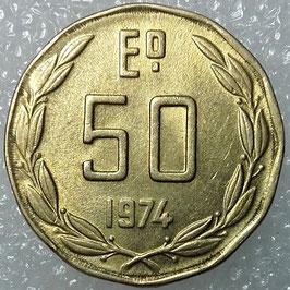 Chile 50 Escudos 1974 KM#201 XF-