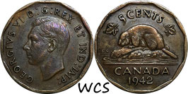 Canada 5 Cents 1942 KM#39 VF