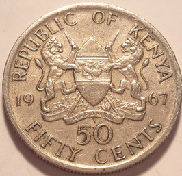 Kenya 50 Cents 1966-1968 KM#4