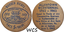 USA 5 Cents (Wooden Nickel)  1962 blue - Allentown, PA Bicentennial (2)