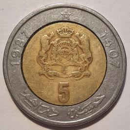 Morocco 5 Dirham 1987 (1407) Y#82 VF-