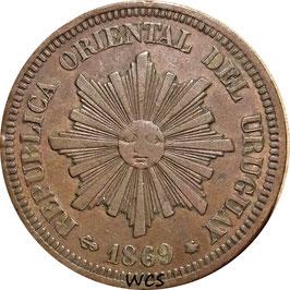 Uruguay 2 Centesimos 1869 A KM#12 VF
