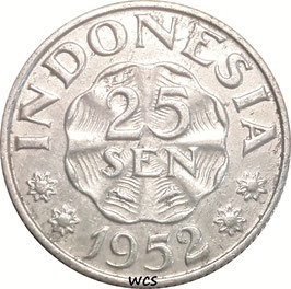Indonesia 25 Sen 1952 KM#8 VF