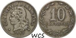 Argentina 10 Centavos 1913 round top 3 KM#35 VF-