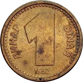 Yugoslavia 1 Dinar 1992 KM#149 VF