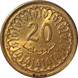 Tunisia 20 Millimes 1960-2017 KM#307