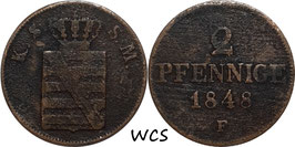 Saxony 2 Pfennige 1848 F KM#1157 F