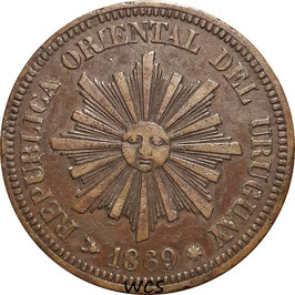 Uruguay 2 Centesimos 1869 H KM#12 VF- (1)