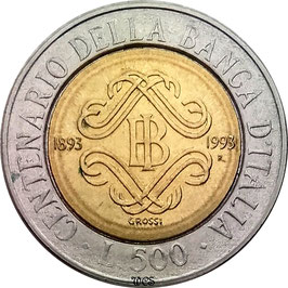 Italy 500 Lire 1993 KM#160 XF - 100th Anniversary - Bank of Italy
