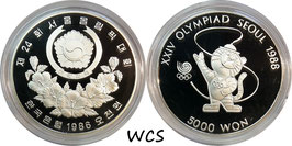 South Korea 5000 Won 1986 KM#54 Proof - Olympic Games Seoul 1988 - Tiger Mascot