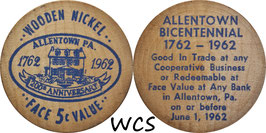 USA 5 Cents (Wooden Nickel)  1962 blue - Allentown, PA Bicentennial (1)