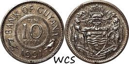 Guyana 10 Cents 1967-1992 KM#33