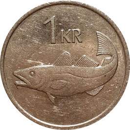 Iceland 1 Krona 1981-1987 KM#27