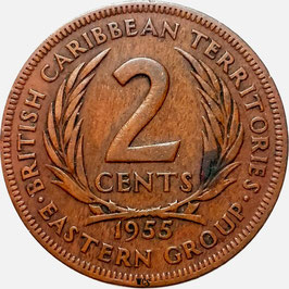 East Caribbean States 2 Cents 1955-1965 KM#3