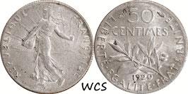 France 50 Centimes 1920 KM#854 XF-