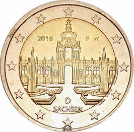 Germany 2 Euro 2016 Bundeslander Series - Saxony, Dresdener Zwinger KM#347