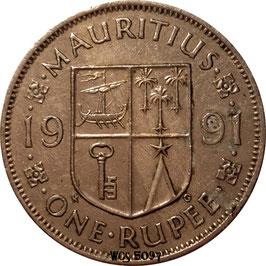 Mauritius 1 Rupee 1987-2010 non-magnetic KM#55