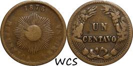 Peru 1 Centavo 1876 KM#187.1a VG