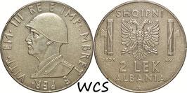 Albania 2 Lek 1939 R non-magnetic KM# 32 VF+