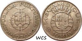 Mozambique 10 Escudos 1968-1976 KM#79b