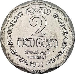 Ceylon 2 Cents 1971 KM#128 UNC-