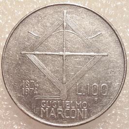 Italy 100 Lire 1974 - 100th Anniversary - Birth of Guglielmo Marconi KM#102