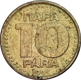 Yugoslavia 10 Para 1995 KM#162.2 VF