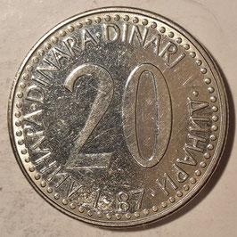 Yugoslavia 20 Dinara 1987 KM#112 VF
