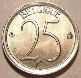 Belgium 25 Centimes 1964-1975 BELGIQUE Coin alignment (180°) KM#153.1