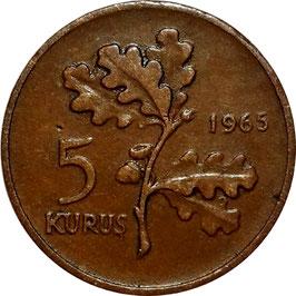 Turkey 5 Kurus 1958-1968 KM#890.1