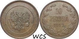 Finland 10 Penniä 1917 Cevil War KM#18 XF-