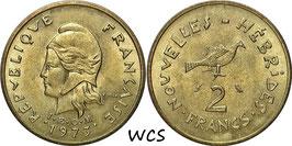New Hebrides 2 Francs 1973 KM#5.2 UNC-