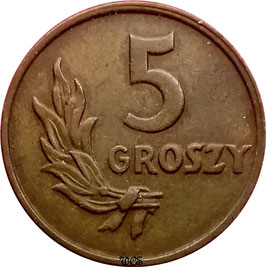 Poland 5 Groszy 1949 Bronze Y#41 VF