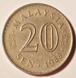 Malaysia 20 Sen 1967-1988 KM#4