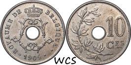 Belgium 10 Centimes 1904 BELGIQUE KM#52 XF