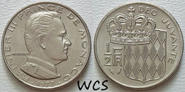 Monaco ½ Franc 1977 KM#145 XF