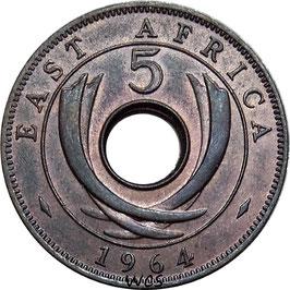 East Africa 5 Cents - Elizabeth II 1964 KM#39 XF