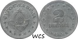 Yugoslavia 2 Dinara 1945 KM#27 VF