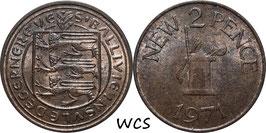 Guernsey 2 New Pence 1971 KM#22 XF