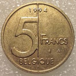 Belgium 5 Francs 1994-2001 BELGIQUE KM#189