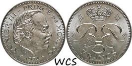 Monaco 5 Francs 1974 KM#150 UNC