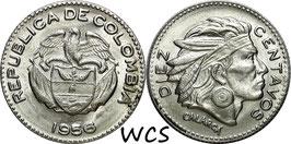 Colombia 10 Centavos 1956 KM#212.2 UNC-