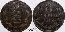 Guernsey 8 Doubles 1918 H KM#14 VF-