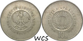 Poland 10 Zlotych 1969 - 25th Anniversary of People's Republic of Poland Y#61 XF