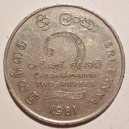 Sri Lanka 2 Rupees 1981 Mahaweli Dam KM#145 XF