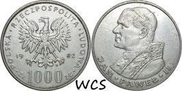 Poland 1000 Zlotych 1982 MW - Pope John Paul II Y#144 XF