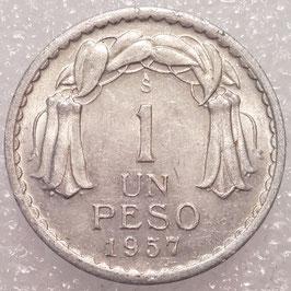 Chile 1 Peso 1954-1958 KM#179a