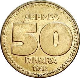 Yugoslavia 50 Dinara 1992 KM#153 XF