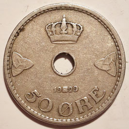 Norway 50 Øre 1929 KM#386 VF